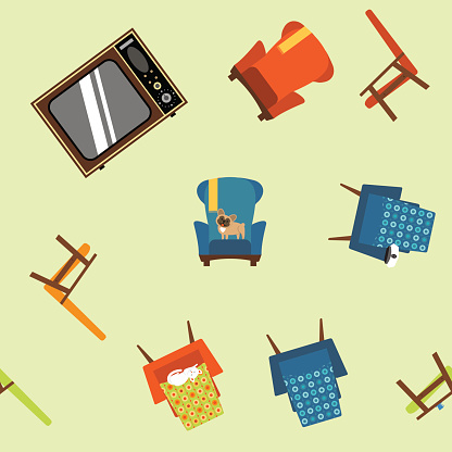 Pattern seamless element of furniture, equipment and pets.