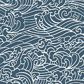Pattern Seamless Ocean Waves hand draw