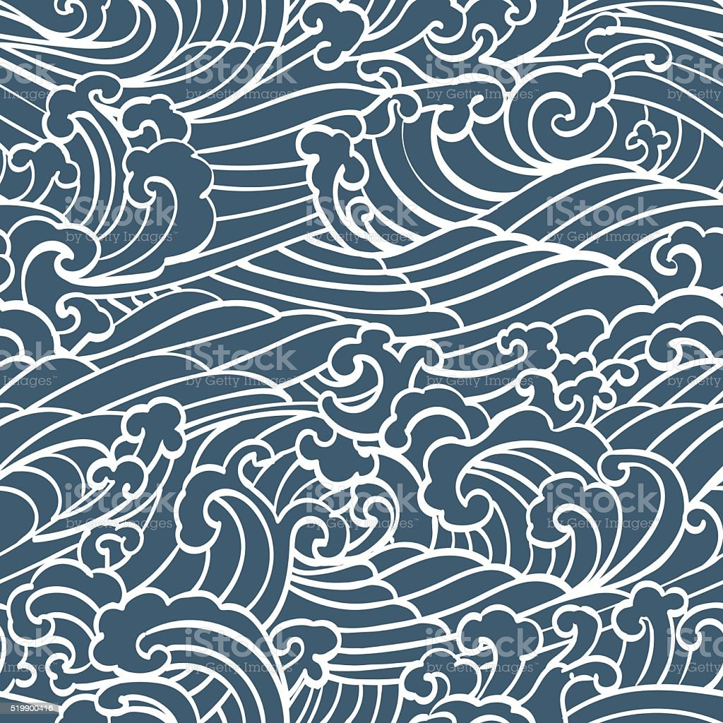Pattern Seamless Ocean Waves hand draw vector art illustration