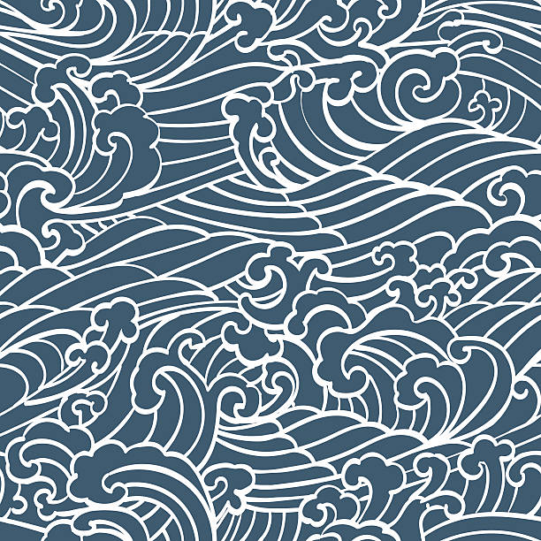 stockillustraties, clipart, cartoons en iconen met pattern seamless ocean waves hand draw - bloemen storm