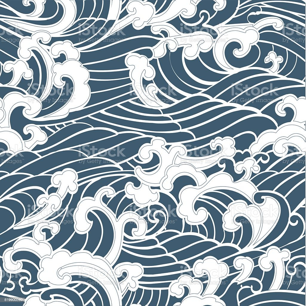 Pattern Seamless Ocean Waves vector art illustration
