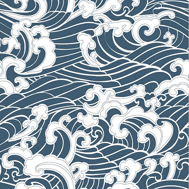 Patrones sin fisuras las olas al mar - ilustración de arte vectorial