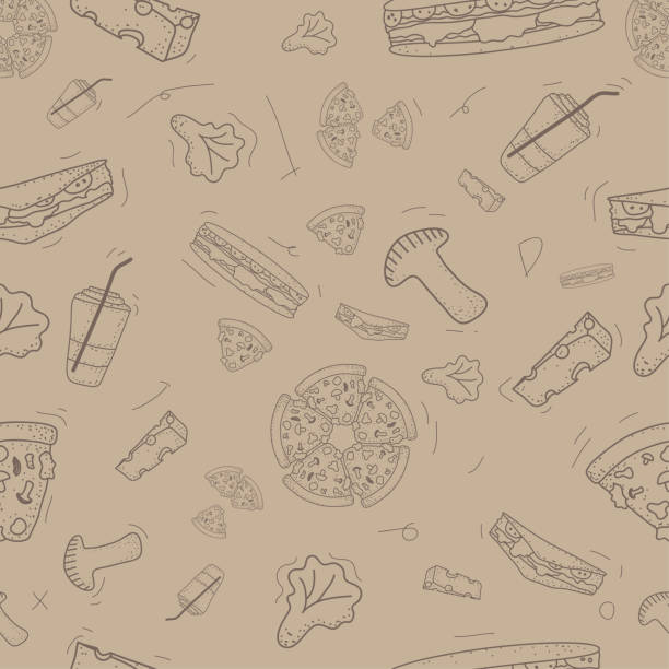 pattern seamless set of fast food and drink doodle vintage style. vector illustration eps10 - burger and chicken stock illustrations