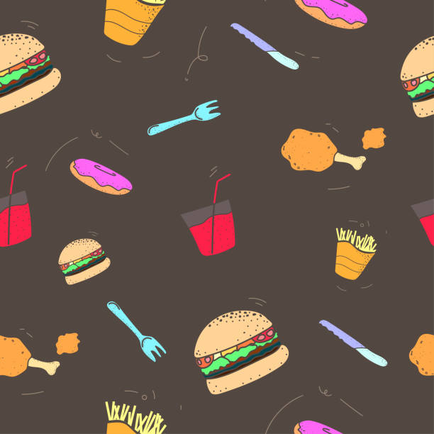 pattern seamless set of fast food and drink. no line shape flat pastel color design style. vector illustration eps10 - burger and chicken stock illustrations