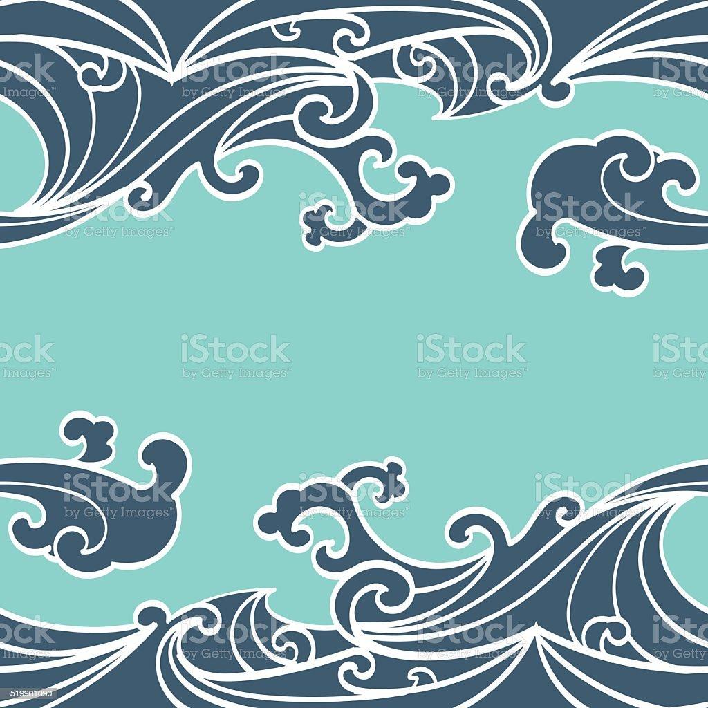シームレスな夏の海の波パターン手描きスタイル ベクターアートイラスト