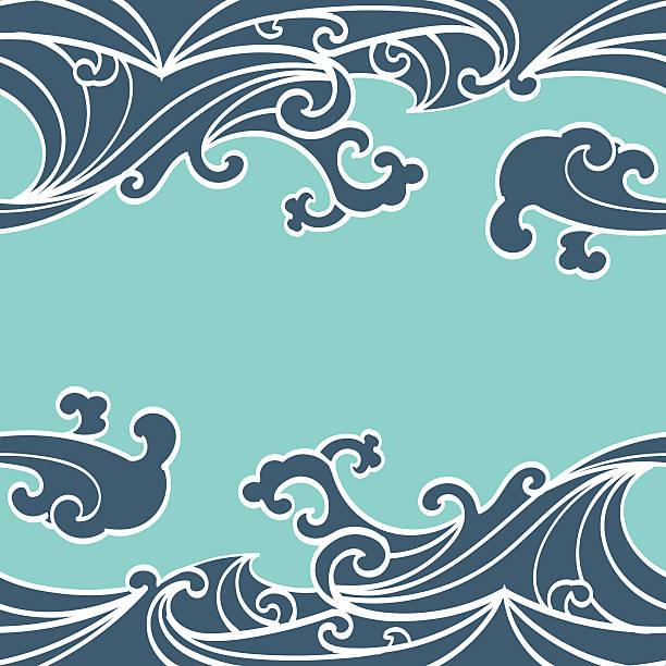 シームレスな夏の海の波パターン手描きスタイル - マリンのタトゥー点のイラスト素材/クリップアート素材/マンガ素材/アイコン素材