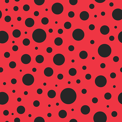 Pattern seamless with ladybug. Red background with black polkadot for lady. Texture for modern fashion of cloth. Art for wallpaper, scrapbook, textile, decor. Pattern of ladybird for wrapping. Vector