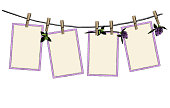 pattern set of open hanging on clothespins on rope decorated with flowers and clover leaves beautiful composition, sketch vector graphics color illustration on white background