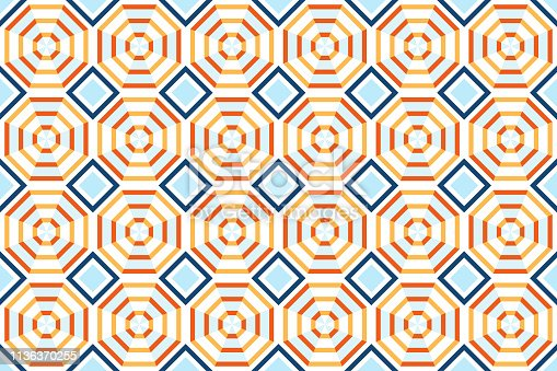 Pattern stripes geometric seamless abstract background. Design of colorful pattern octagon stripe for summer.