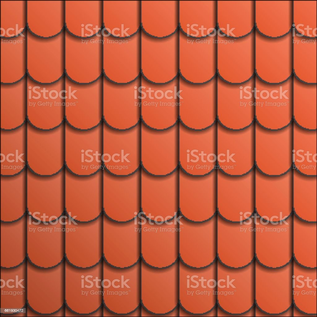 Pattern terracotta roof tile. vector art illustration