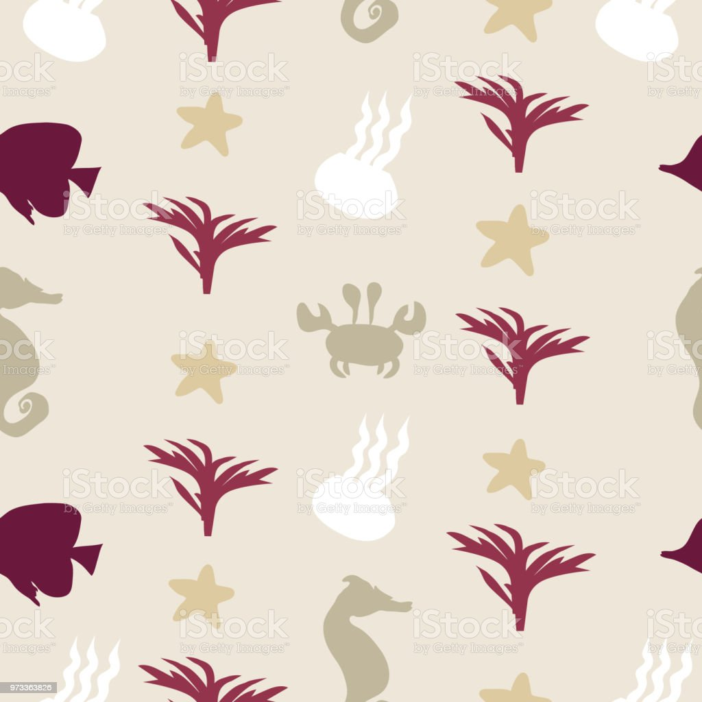 Pattern texture with jellyfish, seahorse, seaweed, star, crab and fish, sea elements on background. Vector illustration векторная иллюстрация