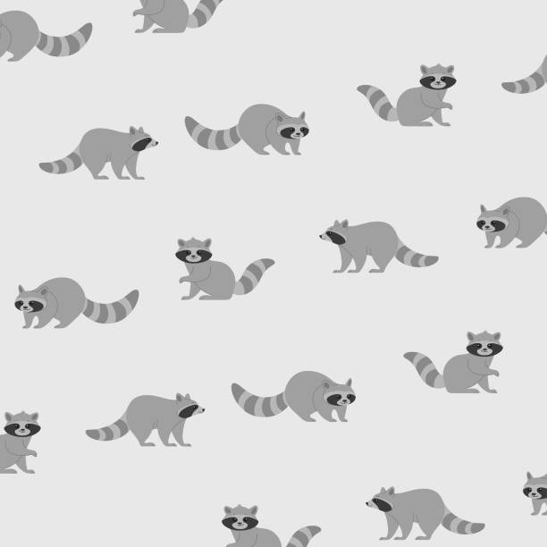pattern Cartoon raccoon - simple trendy pattern with animal. Flat vector illustration for prints, clothing, packaging and postcards. raccoon stock illustrations
