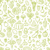 Farm fresh fruits and vegetables seamless pattern. Outline style vector illustration.
