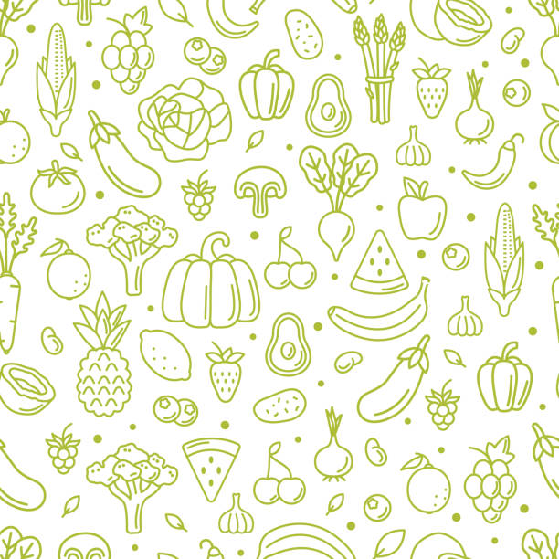 pattern Farm fresh fruits and vegetables seamless pattern. Outline style vector illustration. avocado patterns stock illustrations