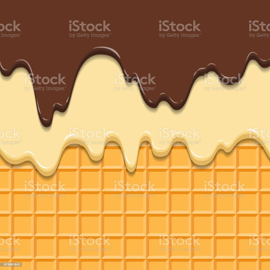 Pattern waffle texture melts frosting ice cream dripping glossy pattern waffle texture melts frosting ice cream dripping glossy streaks chocolate vanilla cream crispy cone reheart Images