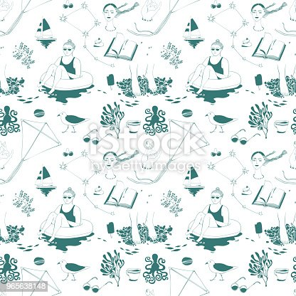 seamless vector pattern with a sea theme, girl on the water around which gulls, sea yachts, stars