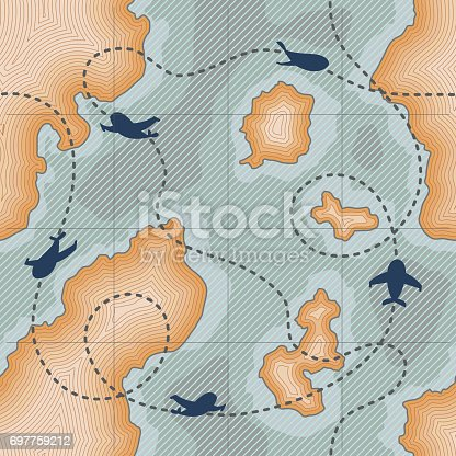 Pattern with airplanes dotted lines route on map with dotted lines, islands and ocean. Illustration of map with islands and ocean. Military subject. Background or wallpaper. Vector illustration art.