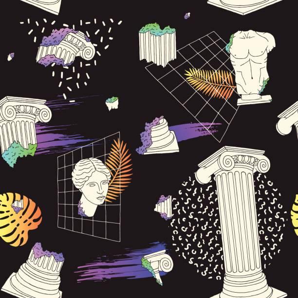 Pattern with ancient greek columns. Vector vector art illustration