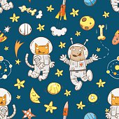 Space vector seamless pattern with cartoon cats astronauts and dogs astronauts on  white background. Doodle image.
