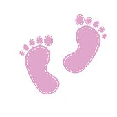 pattern with baby footprint. Footprints girls on white background