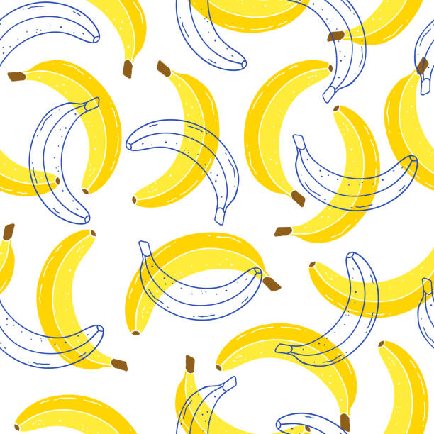 pattern with bananas Seamless pattern with bananas on white background. Fruits texture.It be perfect for fabric, wrapping,packaging, digital paper and more. banana stock illustrations