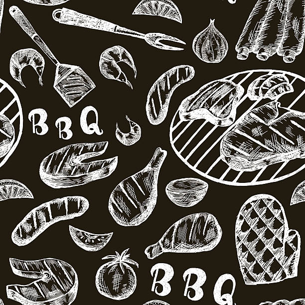 ilustrações de stock, clip art, desenhos animados e ícones de pattern with barbecue food on craft paper. - meat texture