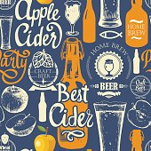 Pattern with beer, cider and apple in sketch style. Seamless background for Pub menu. Vector illustration: labels, bottle, glass brush calligraphy elements. Handwritten ink lettering.