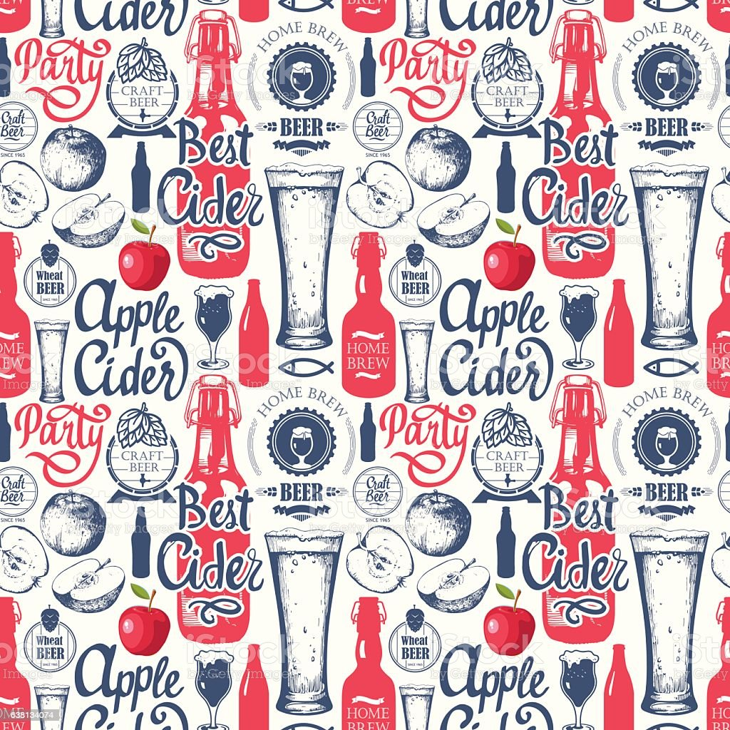 Pattern with beer, cider and apple in sketch style. Seamless – Vektorgrafik
