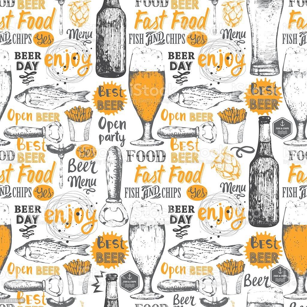 Muster mit Bier, Apfelwein und Snack in Skizze Stil. – Vektorgrafik