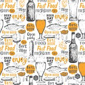 Pattern with beer, cider and snack in sketch style.