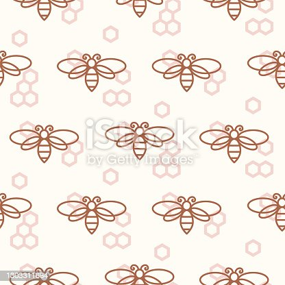 Pattern with bees and bee hives honey colors. Line icons insects seamless tiles vector.