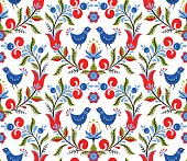 Scandinavian seamless pattern with birds and flowers