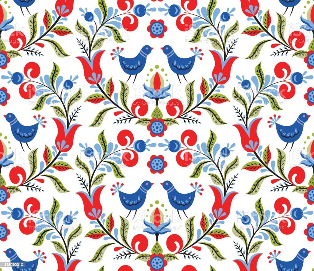 pattern with birds and flowers vector art illustration