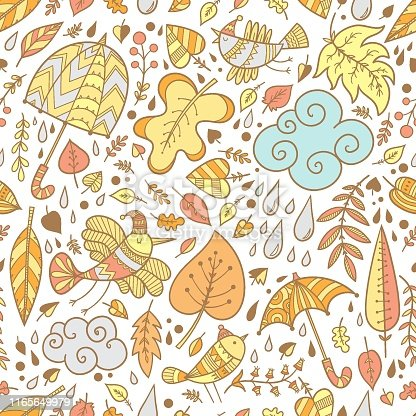 Seamless pattern with cute cartoon birds and umbrellas on white  background. Falling leaves. Rainy weather. Vector outline imagel.