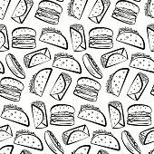 Pattern with black outline fast food symbols