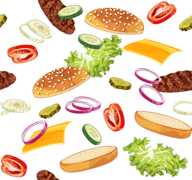 Pattern with burger ads without any background Vector realistic illustration pattern of jumping burger, delicious exploded hamburger with ingredients lettuce, onion, patty, tomato, cheese, bun isolated on white background pickle slice stock illustrations