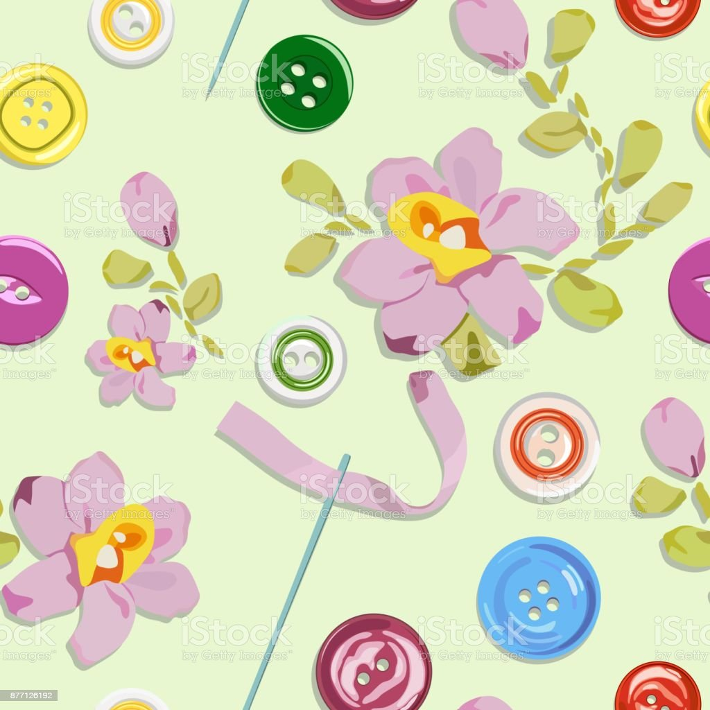Pattern with buttons and embroidered colors from ribbons. Vector illustration. vector art illustration