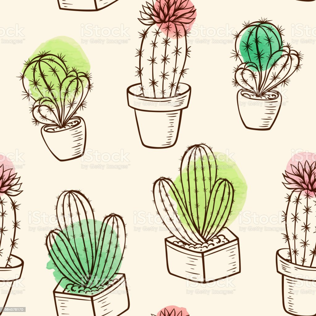 Pattern with cactus in flowerpot vector art illustration