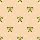 pattern with cartoon avocados on background with harths, cute funny fruits