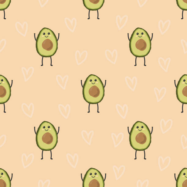pattern with cartoon avocado pattern with cartoon avocados on background with harths, cute funny fruits avocado patterns stock illustrations