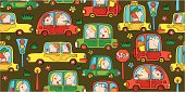 Seamless pattern with funny cartoon cars