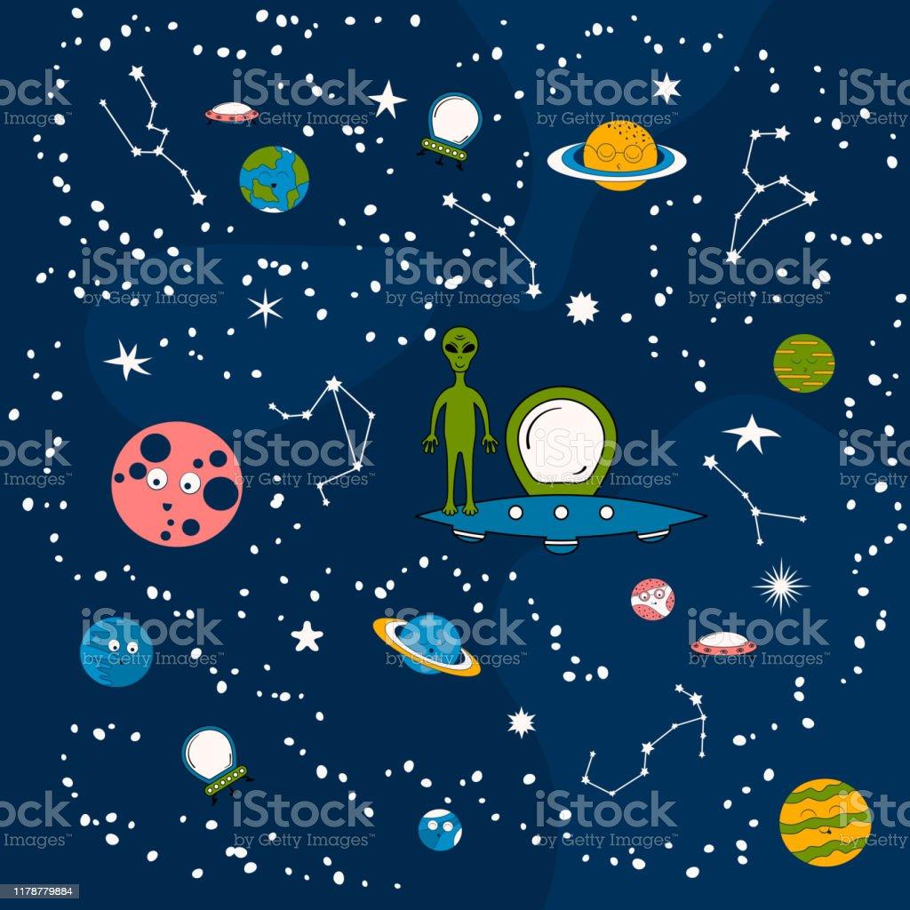 漫画の惑星宇宙船や干支とパターン面白いエイリアン星座と星の銀河の空にufoとかわいい赤ちゃんの背景子供のための宇宙の壁紙 12星座のベクターアート素材や画像を多数ご用意 Istock