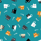 background of cute cats, pattern of cartoon cats and fishbones, group of funny colorfoul kittens