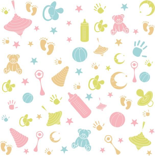 muster mit bunten baby-symbole - möbelfüße stock-grafiken, -clipart, -cartoons und -symbole