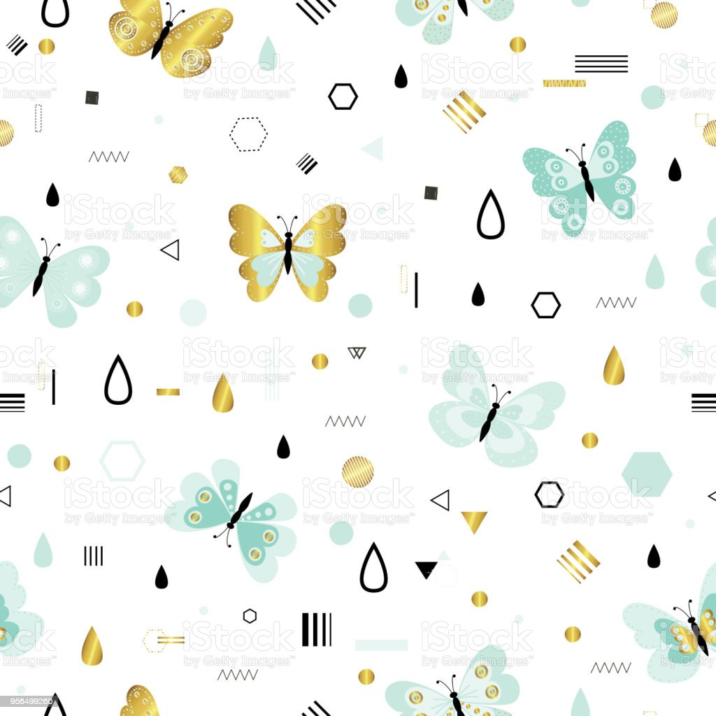 Pattern With Cute Butterflies Stock Vector Art More Images Of