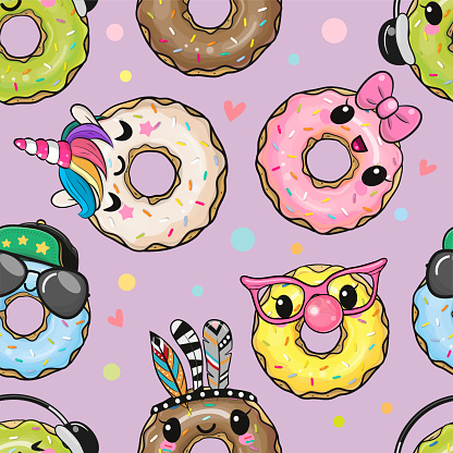 Pattern with cute cartoon donuts