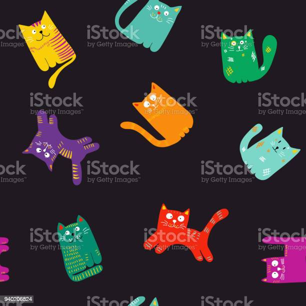 Pattern with cute colorful cats vector illustration for textiles vector id940206824?b=1&k=6&m=940206824&s=612x612&h=9dkxcp30u0 lhckt0r m2mlkbz1lyc0xjkcfqpjz6ms=