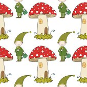 Pattern with cute elves and a mushroom house.