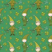 Pattern with cute gnomes. Clover and watering.
