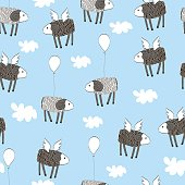 Seamless Pattern with cute lambs wit wings and baloons in clouds made in vector. Hand drawn illustration.Bright childish background.
